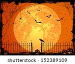 halloween night background with ... | Shutterstock .eps vector #152389109