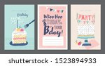 set of birthday greeting cards... | Shutterstock .eps vector #1523894933
