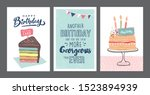 set of birthday greeting cards... | Shutterstock .eps vector #1523894939