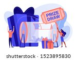 Stock vector lucky tiny people turning raffle drum with tickets and winning prize gift boxes prize draw online 1523895830