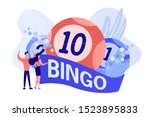 Stock vector businessman and woman winners and bingo lottery balls with lucky numbers tiny people lottery 1523895833