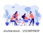group of friends sitting at the ... | Shutterstock .eps vector #1523895839