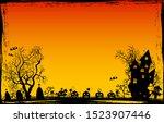 halloween night. pumpkins ... | Shutterstock .eps vector #1523907446