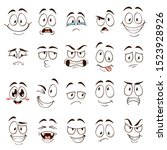 cartoon faces. caricature comic ... | Shutterstock .eps vector #1523928926