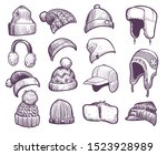 hand drawn winter hats. set of... | Shutterstock .eps vector #1523928989
