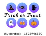 halloween icon set with hat ... | Shutterstock .eps vector #1523946890