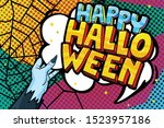 halloween greeting card in pop...   Shutterstock .eps vector #1523957186