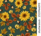 Autumn Sunflowers With Teal...
