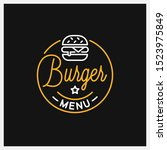 burger shop logo. round linear... | Shutterstock .eps vector #1523975849