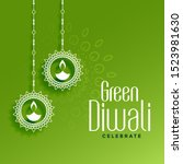 eco friendly green diwali... | Shutterstock .eps vector #1523981630