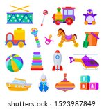 kid toys. drum and train ... | Shutterstock .eps vector #1523987849