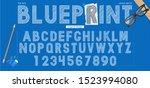 blueprint sketch font  great...   Shutterstock .eps vector #1523994080