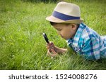 boy with magnifying glass... | Shutterstock . vector #1524008276
