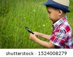 boy with magnifying glass... | Shutterstock . vector #1524008279