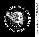 biker skull in helmet with wing....   Shutterstock .eps vector #1524026066