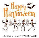 happy halloween with skeletons ....   Shutterstock .eps vector #1524035693