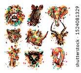 african animal lemur elephant...   Shutterstock .eps vector #1524081329