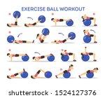 exercise ball workout set. idea ...   Shutterstock .eps vector #1524127376