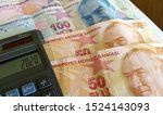 a few turkish lira banknotes on ... | Shutterstock . vector #1524143093