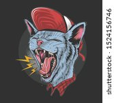 cat kitty scream over rock n... | Shutterstock .eps vector #1524156746
