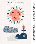 you are my sunshine handwritten ... | Shutterstock .eps vector #1524157340