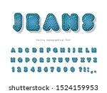 denim modern font. jeans... | Shutterstock .eps vector #1524159953