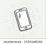 hand drawn of smart phone on... | Shutterstock .eps vector #1524168146