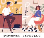 live streaming  broadcast flat... | Shutterstock .eps vector #1524191273
