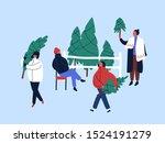 christmas tree buying flat... | Shutterstock .eps vector #1524191279
