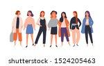 women diverse group flat vector ... | Shutterstock .eps vector #1524205463