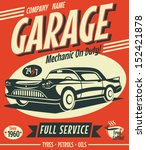 Retro Car Service Sign. Vector...