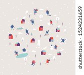 winter city with people. ... | Shutterstock .eps vector #1524231659