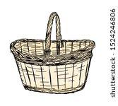 Hand Drawing Wicker Basket....