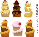 set of cute cupcakes | Shutterstock .eps vector #152426534
