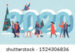 flat design new year vector... | Shutterstock .eps vector #1524306836