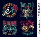 vintage tattoo studio colorful... | Shutterstock .eps vector #1524314150