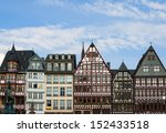 View of Frankfurt historical central square palaces in sunny day - stock photo