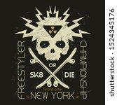 skull illustration tee shirt...   Shutterstock .eps vector #1524345176