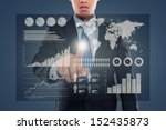 man pushing on a touch screen... | Shutterstock . vector #152435873