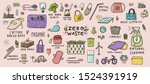 zero waste hand drawn colored... | Shutterstock .eps vector #1524391919