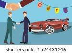 car seller and buyer handsshake ... | Shutterstock .eps vector #1524431246