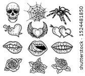 hand drawn set of pop art...   Shutterstock .eps vector #1524481850
