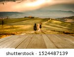 Autumn landscape of Tuscany and wooden board of free space for your decoration. Fall time and mood colors.  - stock photo