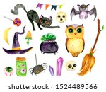 cute watercolor halloween set   ... | Shutterstock . vector #1524489566