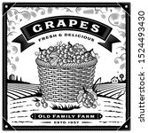 retro grapes harvest label with ... | Shutterstock .eps vector #1524493430