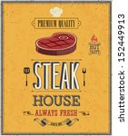 vintage steak house poster.... | Shutterstock .eps vector #152449913