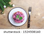 Stock photo christmas traditional russian herring salad layered salad with salted herring and vegetables 1524508160