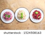 Stock photo russian food on wooden background assortment salad of russian cuisine olivier salad vinaigrette 1524508163