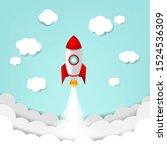 cartoon sky with rocket and...   Shutterstock . vector #1524536309
