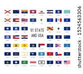 usa flag set icon collection... | Shutterstock .eps vector #1524563306